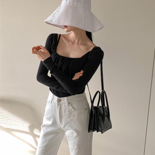 韩国代购 气质小女人~褶皱感纯色小方领修身t恤