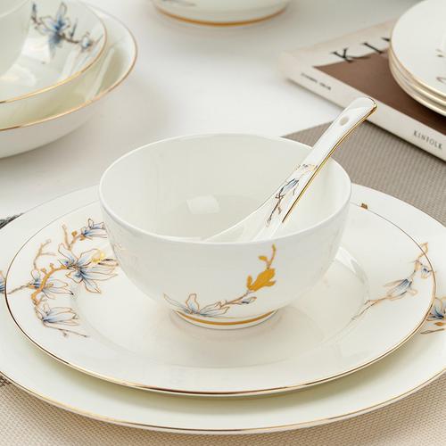 唐山骨瓷玉兰花开骨瓷餐具套装家用碗盘碟勺汤碗大盘