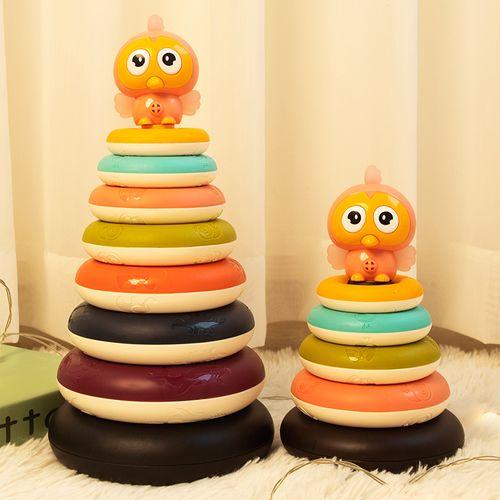 婴儿彩虹叠叠乐套圈塔可啃咬七彩儿童趣味益智早教宝宝玩具0一1岁