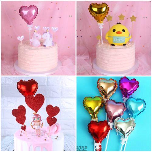 节蛋糕装饰闪亮彩色铝箔气球插旗浪漫七夕情侣