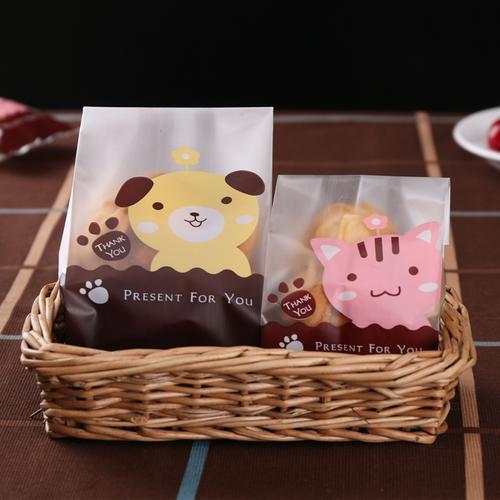 大号磨砂牛皮纸饼干袋自封透明袋烘焙曲奇袋纸袋粘自袋糖果袋包装