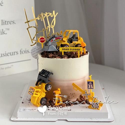 烘焙蛋糕摆件挖掘机工程车小男孩生日蛋糕装饰推土机