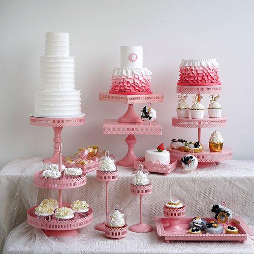 粉色系甜品台铁艺蛋糕架 欧式婚礼甜品架 浪漫婚庆蛋糕盘摆台道具