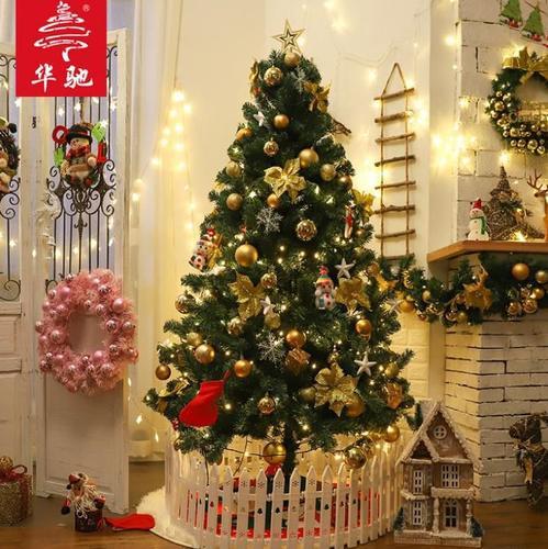 店面挂饰摆件1`5米橱窗圣诞树桌上型小树七彩1`2米北欧风礼物盒