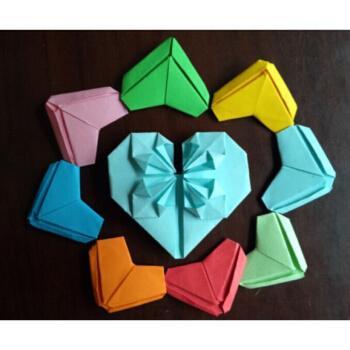 【抖音同款】手工叠的爱心折纸成品千纸鹤心花怒放纸叠樱花立体心双面