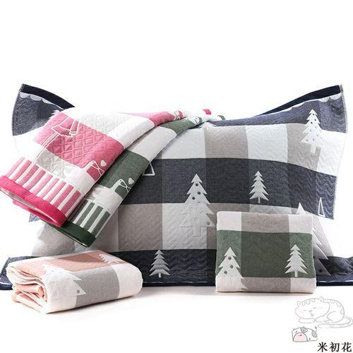 1717巾枕头情侣头巾棉装纱布2夏季一对条忱巾装全