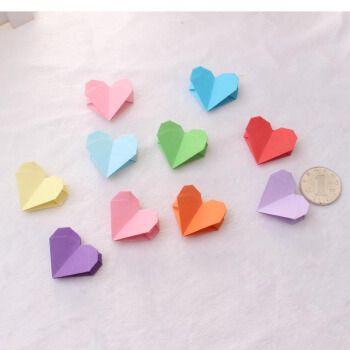 爱惊喜 生日礼物女生折好的爱心成品手工双面彩色桃心形叠纸520情人节