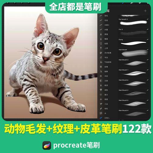 procreate笔刷170172动物毛发丝毛绒皮毛质感皮革
