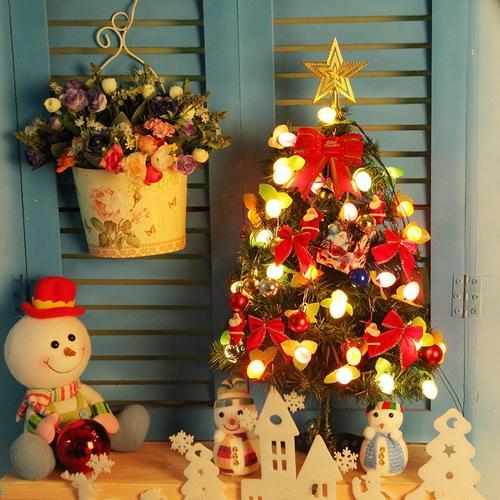2圣诞树迷你小型装饰品家用套餐