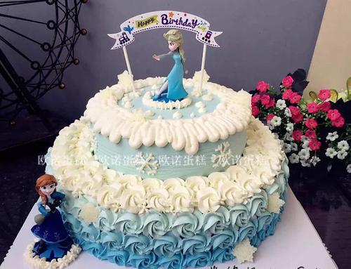 冰雪奇缘 艾莎 安娜公主 双层创意蛋糕