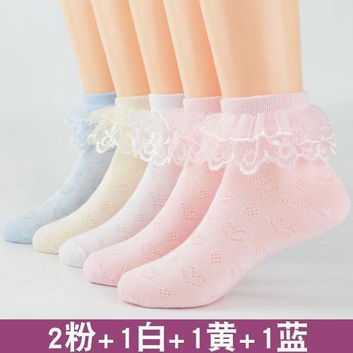 儿童白袜子女花边袜童袜夏季薄款棉春秋蕾丝公主白色春夏宝宝舞蹈袜子