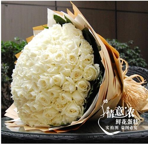 99朵白玫瑰成都鲜花店都江堰龙泉郫县新都温江新津