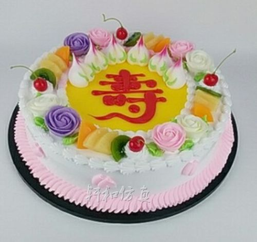 轩和蛋糕模型 热销新款水果寿桃裱花生日蛋糕模型仿真
