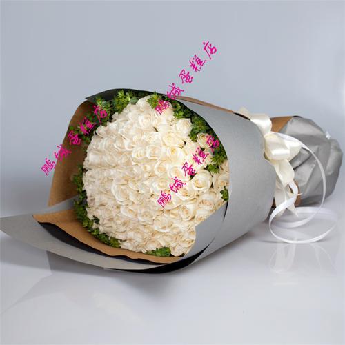 新款66朵白玫瑰鲜花束七夕节送女友深圳市福田区