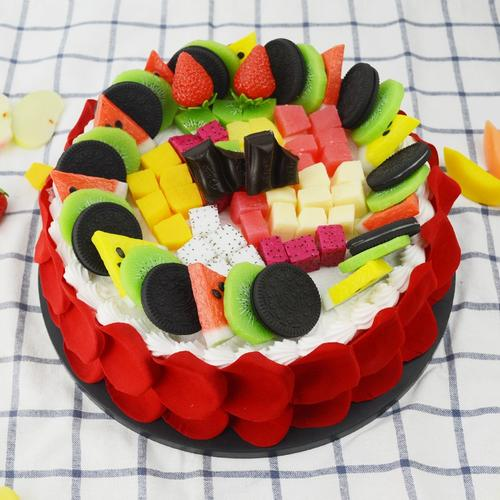 仿真假水果拼盘黄桃蛋糕奇异果模型切块装饰品草莓