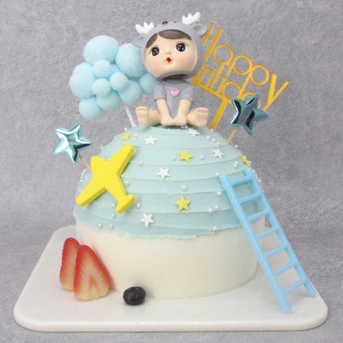 仿真蛋糕模型2020新款创意网红球型可爱儿童卡通塑胶生日蛋糕样品