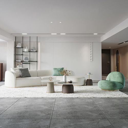 现代轻奢沙发弧形意式简约风格布艺乳胶港式样板房设计师异型组合