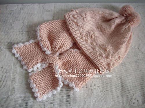 女人秀全手工编织纯山羊绒精致绣花花朵宝宝毛线帽子围巾亲子套