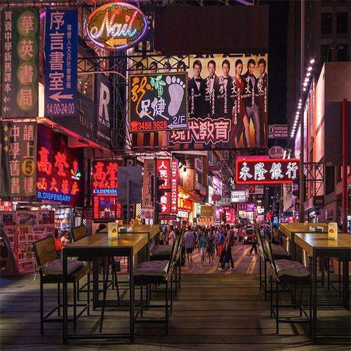 妆蔓大型复古怀旧香港街景壁纸港式茶餐厅奶茶店小吃店背景墙布